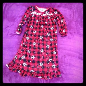 Girls Disney Minnie Mouse 4t red flannel gown